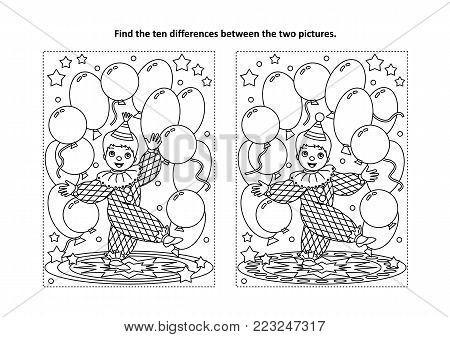 Circus themed find the ten differences picture puzzle and coloring page with little cute clown performing with balloons