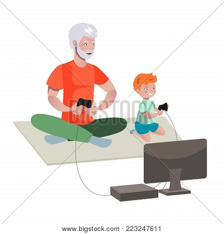 Grandfather And Boy Playing Video Games. Vector illustration