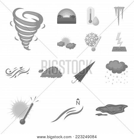 Different weather monochrome icons in set collection for design.Signs and characteristics of the weather vector symbol stock  illustration.