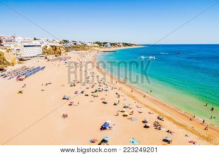 Albufeira beach on the Algarve in Portugal.