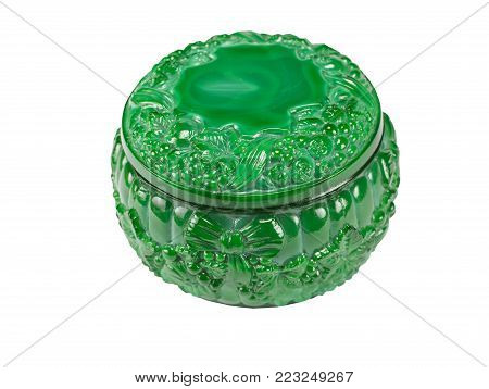 Malachite small box on a white background