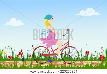 Pregnant young woman riding bike on spring flowering field. Cobbled path through blooming  meadow. Sunny summer composition. Vector illustration symbolizing joy, serenity and happiness. Horizontal
