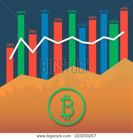 Cryptocurrency logo with market growth graph and volume bars. Business data report financial diagram. Market illustration for option, forex, exchange stock.