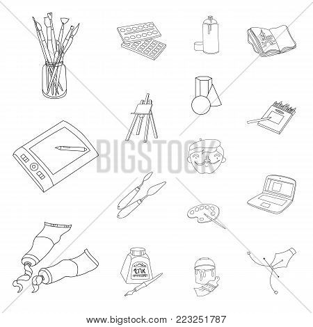 Painter and drawing outline icons in set collection for design. Artistic accessories vector symbol stock  illustration.
