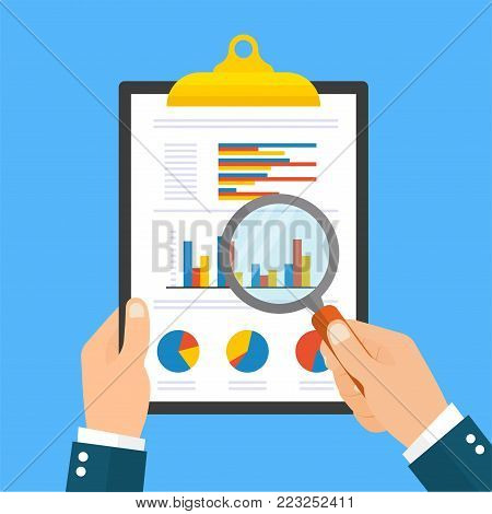 Cartoon businessman hands with magnifier analyzing a folder of paper with diagrams. Flat style - stock vector.