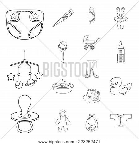 Birth of a baby outline icons in set collection for design. Newborn and accessories vector symbol stock  illustration.