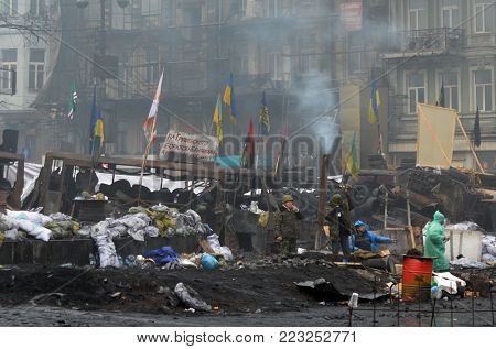 LBGT activists pro-Poroshenko riot. Vandalism in downtown. Gays against corruption,for democracy and gay rights So-called Revolution of Dignity.February 11, 2014 Kiev, Ukraine