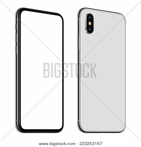 Similar to iPhone X rotated smartphone mockup front and back side. New modern white frameless smartphone mockup with blank white screen and back side with dual camera module. Isolated on white background. 3D illustration.
