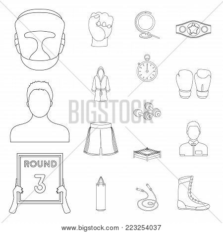 Boxing extreme sports outline icons in set collection for design. Boxer and attributes vector symbol stock  illustration.