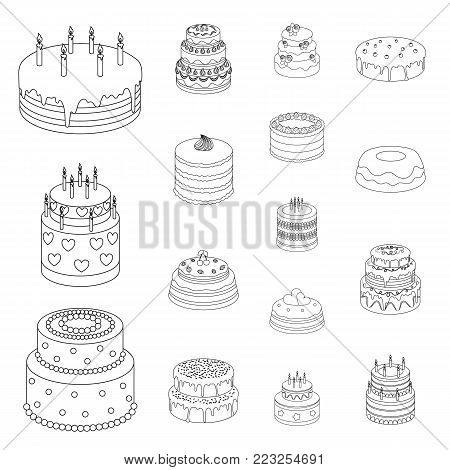 Cake and dessert outline icons in set collection for design. Holiday cake vector symbol stock  illustration.