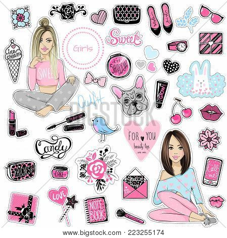 Big Vector kit of fashion patches. Set with glamour elements. Cute stickers for girls. Fashionable accessories. Trendy badges and pins. Stylish prints girls, lips, phone, makeup. flowers, hearts.