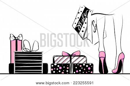 Vector girl in high heels surrounded by shopping bags, gift boxes.Fashion illustration.Female legs in shoes. Trendy Design for sale, discount, advertising, store.Vogue style.Women with packages.