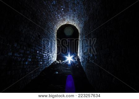 Dark dungeon under the old Prussian fortress, Kaliningrad, Russia