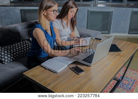 Two woman working together in office with laptop computer, writing a notary. Women entrepreneurs searching new workers in internet using net-book. Business meeting.  On-line learning in co-working
