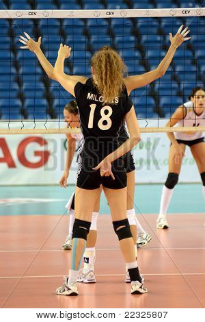 DEBRECEN, HUNGARY - JULY 9: Julia Milovits (in black 18) in action a CEV European League woman's volleyball game Hungary (black) vs Israel (white) on July 9, 2011 in Debrecen, Hungary.
