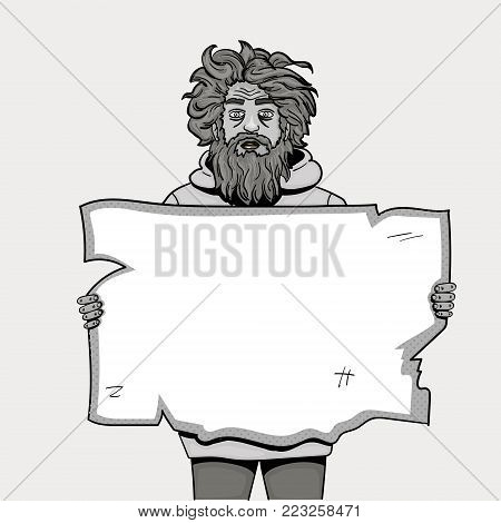 Homeless man with paper sign pop art style . Comic book style imitation. Object Vector black and white pencil. Shades of gray