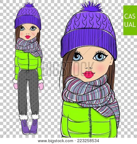 Cute vector fashion girl on a transparent background. Fashionable teen. Cartoon lady. Colorful sketch illustration. Little model. Winter casual look Young chic.