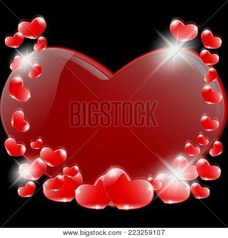 A romantic prelude, a lot of hearts on black. Illustration vektor