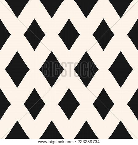 Diamonds seamless pattern. Vector rhombuses geometric texture. Simple abstract monochrome geometrical background. Repeat design for prints, fabric, textile, decoration, pillows, upholstery, wrapping. Seamless rhombuses mesh. Diamonds lattice.
