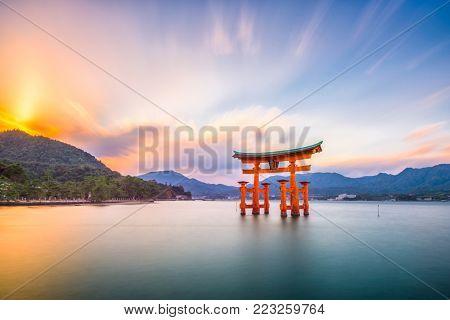 Miyajima, Hiroshima, Japan at Itsukushima Shrine.