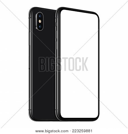 Rotated similar to iPhone X smartphones mockup front and back side. New modern black frameless smartphone mockup with blank white screen and back side one above the other. Isolated on white background. 3D illustration.