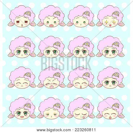 Emoticons, Emoji, Smiley Set, Colorful Sweet Kitty Little Cute Kawaii Anime Cartoon Cat Kitten Girl