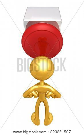 The Original 3D Character Illustration With A Button