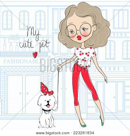 Cute vector girl and pet. Stylish young teen went for a walk with the dog. Cartoon lady. Colorful sketch illustration. Little model. Casual outfit. Funny personage.