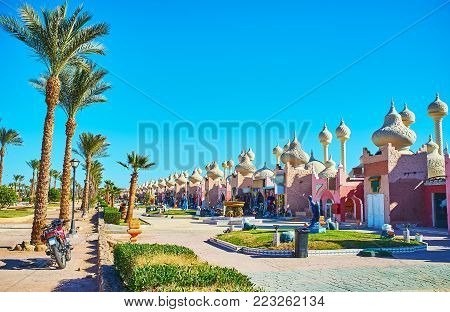 The interesting architectural design of Alf leila wa leila (1001 nights) bazaar makes it one of the most popular tourist locations of resort, Sharm El Sheikh, Egypt. poster