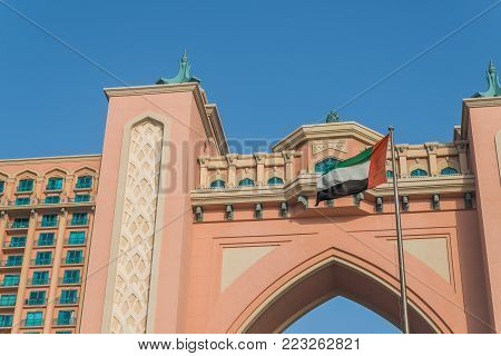Dubai, United Arab Emirates - May 21st, 2017: Facade of Hotel Atlantis, a luxury hotel on Jumeirah Palm in Dubai, UAE