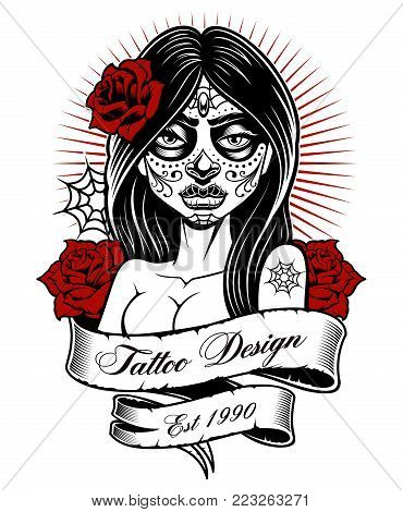 Tattoo girl. Latino tattoo vector illustration, perfect for print on shirt. All elements, text are on the separate layer and easy editable. (MONOCHROME VERSION ON WHITE BACKGROUND).