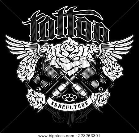 Tattoo design. Shirt graphic with old school tattoo machines, roses and wings. All elements; machines, roses, wings, text and colors are on the separate layers. (MONOCHROME VERSION).