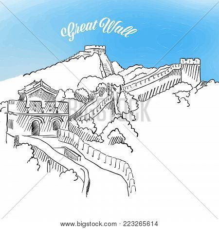 Sketch of Great Wall in China. Hand drawn vector illustration with modern Headline. Use for greeting card and travel marketing.