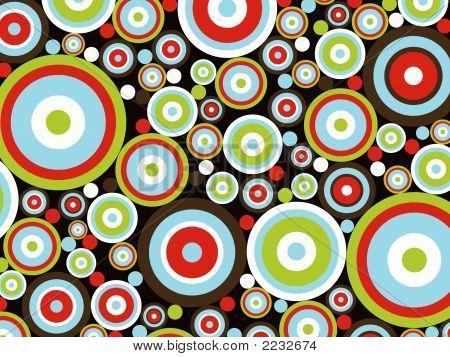 Fun Retro Circles And Rings Pattern (Vector)