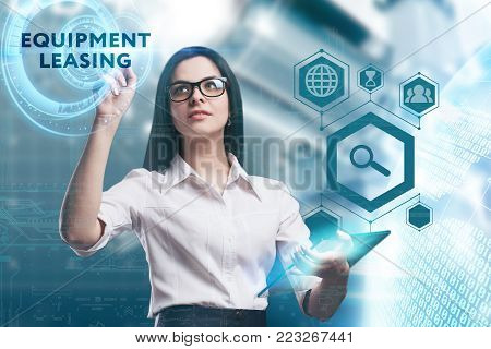 The concept of business, technology, the Internet and the network. A young entrepreneur working on a virtual screen of the future and sees the inscription: Equipment leasing