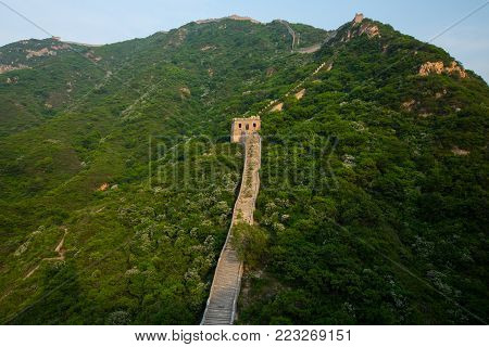 Leading Lines at Great Wall of China in Summer with Copy space , Beijing