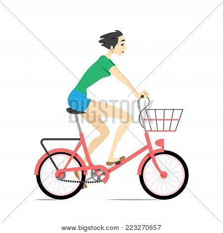 Girl Riding Bicycle. Vector Illustration Of A Beautiful Young Girl Riding A Red Bike.