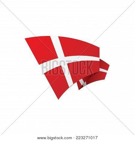 Danmark flag, vector illustration on a white background poster