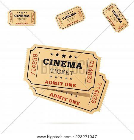 cinema ticket movie entertainment set art illustration