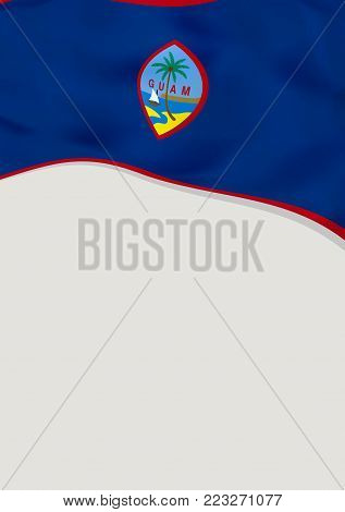 Leaflet design with flag of Guam. Vector template.