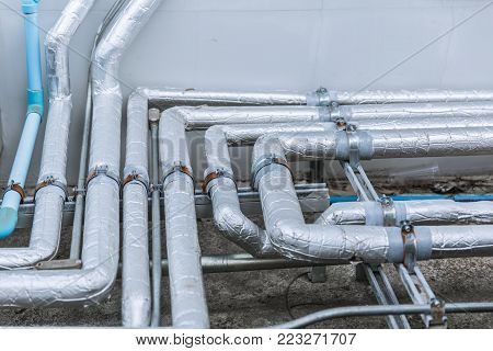 pipe line with cool heat insulator cover industry air conditioner pipes