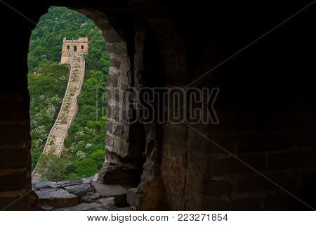 Foreground have Frame Within the Frame at Great Wall of China in Summer with Copy space , Beijing