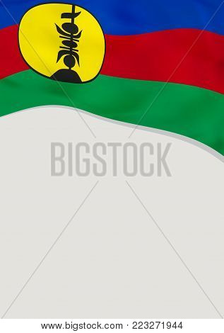 Leaflet design with flag of New Caledonia. Vector template.