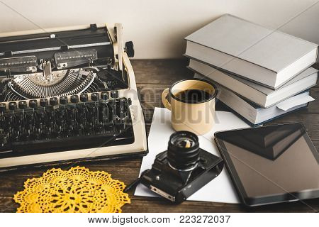 Workplace Of A Journalist, Writer, Blogger. Creative Studio Author Concept