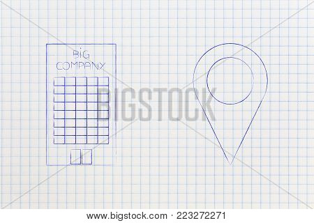 find the best location for your company offices conceptual illustration: building with geotag pin above it and city skyline