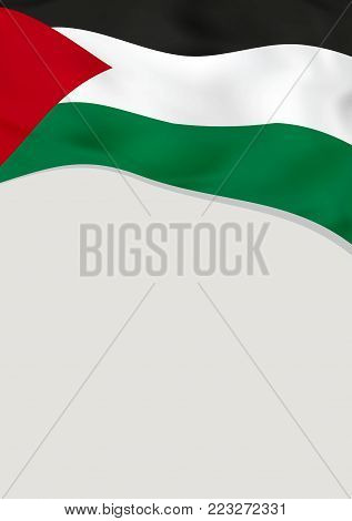 Leaflet design with flag of Palestine. Vector template.