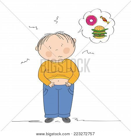 Fat boy suffering from stomach ache after he has eaten too much. Diet failure. Children obesity concept. Original hand drawn illustration.
