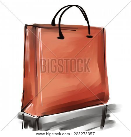 art digital acrylic and watercolor painted one monochrome red shopping bag isolated on white background with space for text and label; colorful 3d graphic