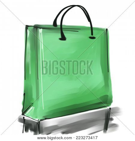 art digital acrylic and watercolor painted one monochrome green shopping bag isolated on white background with space for text and label; colorful 3d graphic