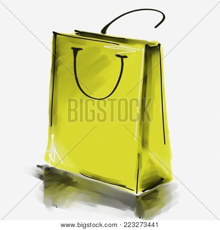 art digital acrylic and watercolor painted one monochrome gold green shopping bag isolated on white background with space for text and label; colorful 3d graphic